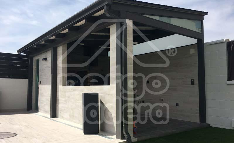 Estructuras de madera con barbacoa para jard n y patio - Estructura tejado madera ...