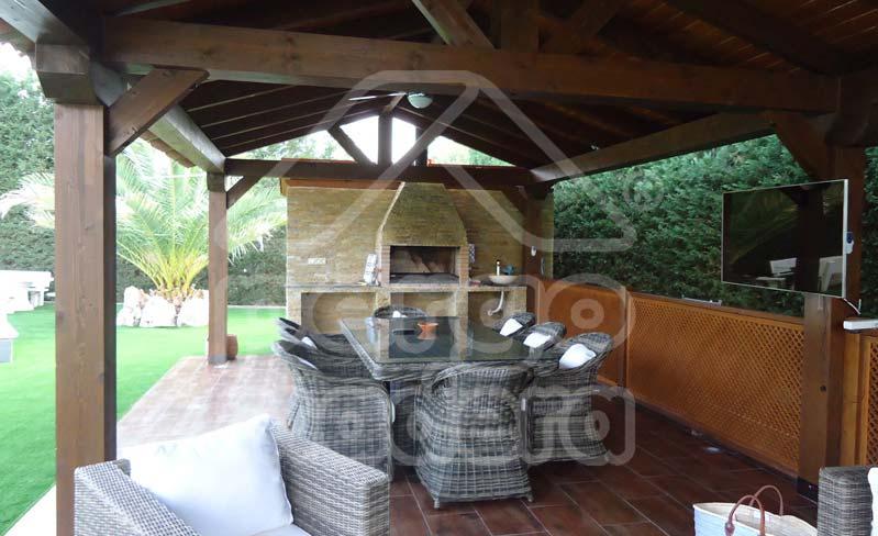 Estructuras de madera con barbacoa para jard n y patio - Barbacoa exterior ...