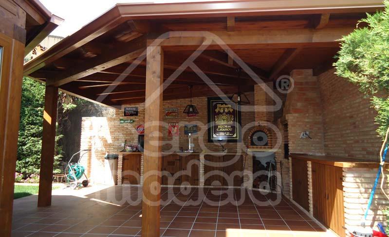 Estructuras de madera con barbacoa para jard n y patio - Jardin con barbacoa ...