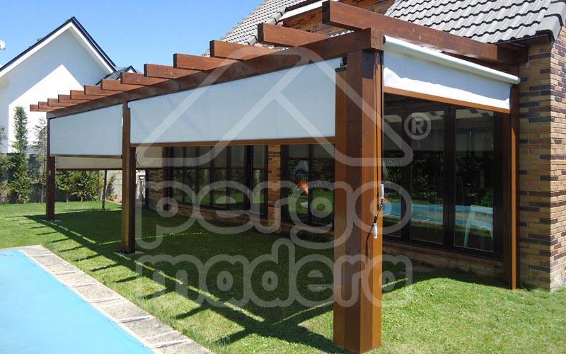 P rgolas porches y p rgolas de madera cenadores y for Carpas jardin leroy merlin