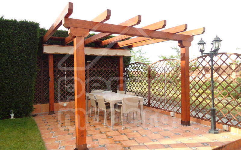 Pérgola de jardín con toldo recogido 3,5 m x 3m