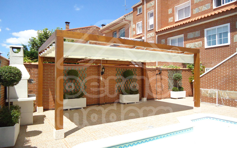 Pergolas baratas para jardin porche con techo pavimento y for Porche jardin madera