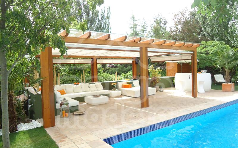 Pergolas de madera madrid p rgolas madera pergomadera for Pergolas para piscinas