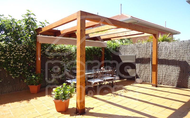 P rgolas porches y p rgolas de madera cenadores y tarima de exterior - Pergola de madera ...
