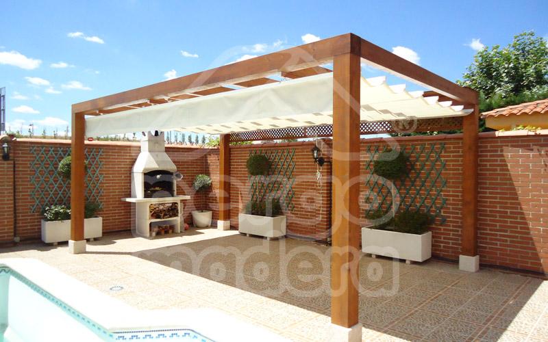 Estructuras de madera porches y p rgolas de madera - Bases para pergolas ...