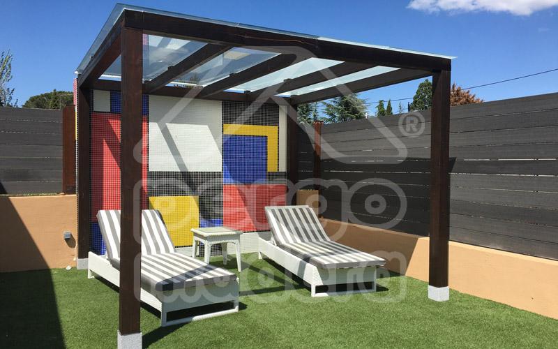 Pergola madera moderna con cristal 3m x 3m